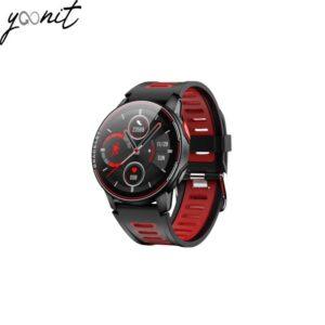 montre intelligente noir et rouge